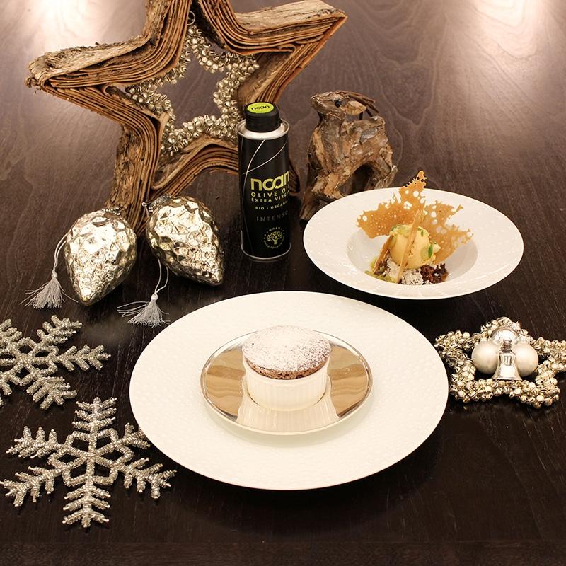 Weihnachtsmenü Dessert: Oliven-Schokoladen-Soufflé