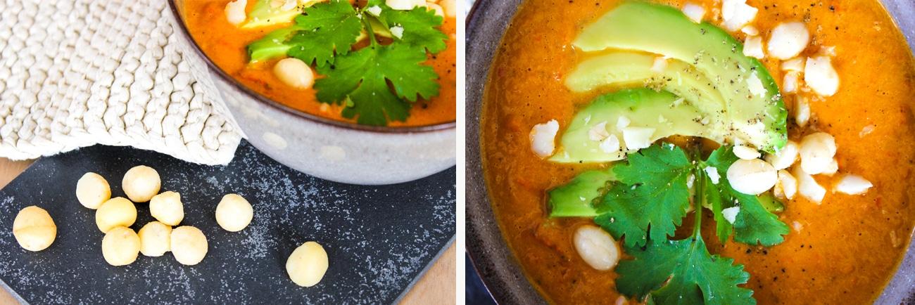 NOAN Paleo Suppe mit Avocado, Paprika & Macadamias