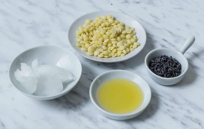 Zutaten für Handcreme mit Olivenöl