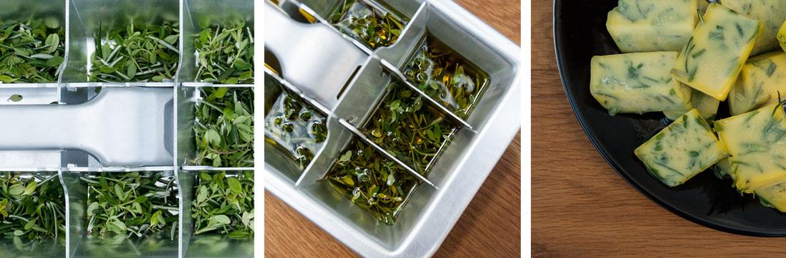 Bilderkombi: Im ersten Bild sind frisch geerntete Kräuter in einer metallenen Eiswürfelform, im zweiten Bild wird Öl darüber gegossen und im dritten Bild liegen die fertig tiefgefrohrenen Kräuter-Olivenöl-Würfel auf einem Teller
