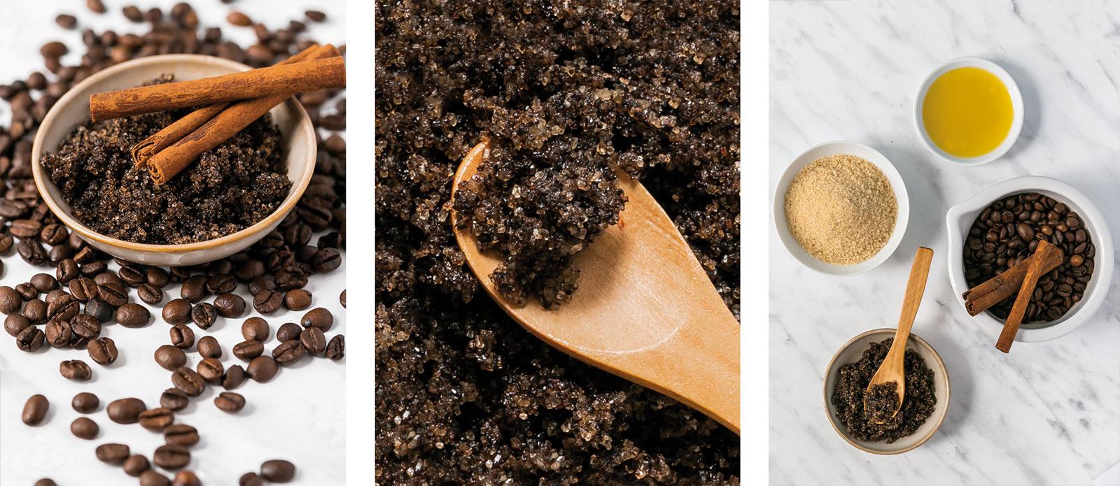 Olivenöl-Peeling mit Kaffee und braunem Zucker