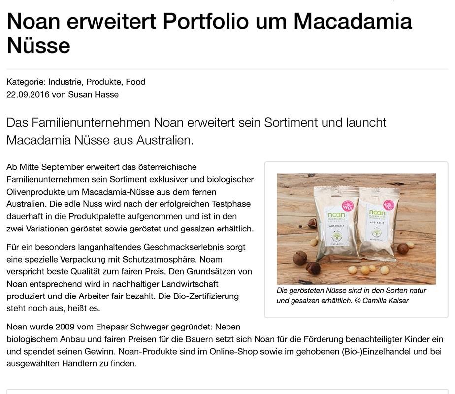 CASH - Das Handelsmagazin: Noan erweitert Portfolio um Macadamia