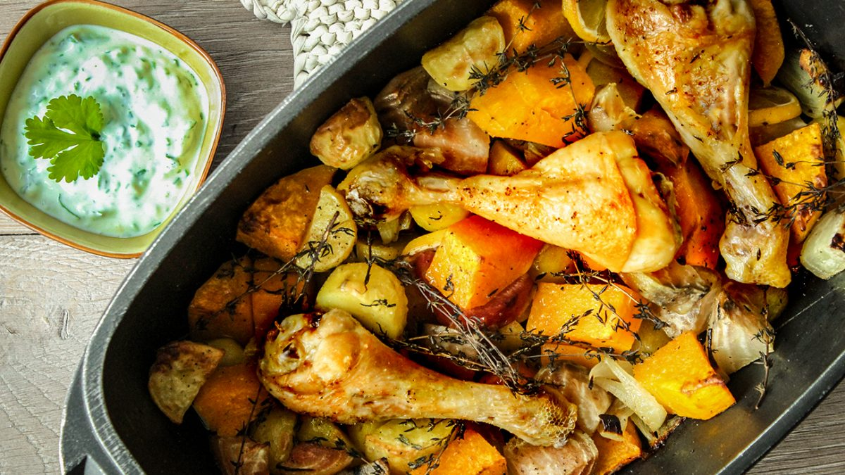 Healthy Thanksgiving: Huhn mit Ofengemüse