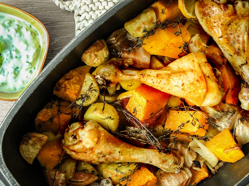 Healthy Thanksgiving: Huhn mit Ofengemüse