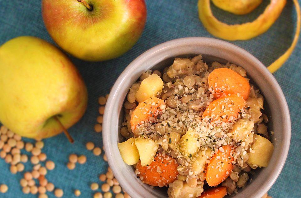 Linsen-Salat mit Apfel und Karotten