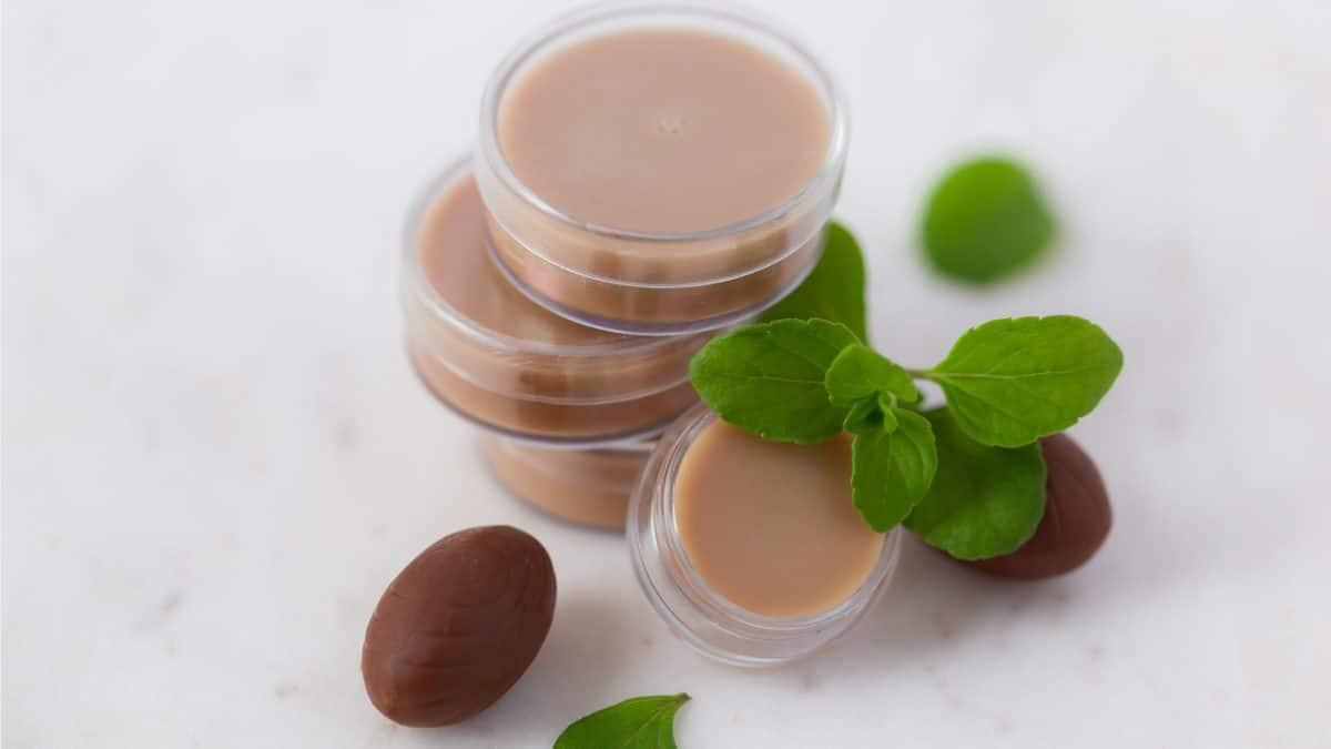 Schoko-Minz Lippenbalsam in Behältern mit Minze dekoriert