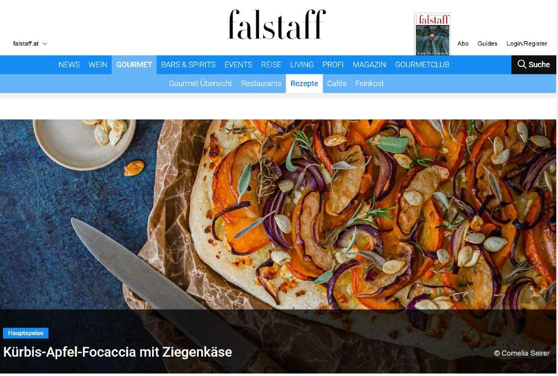 Falstaff Online Magazin Repet Blatt und Blüte Focaccia Kürbis
