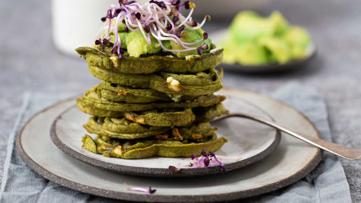 Spinatwaffeln geschichtet mit Avocado, angerichtet mit Rettichsprossen auf Steinguttellern