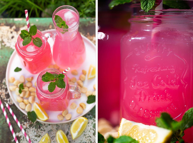 2 Fotos des Rhabarber-Sirups, dekorativ in Gläsen angeordnet auf einem Tablett